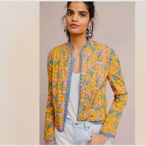 Anthropologie NWOT Waverly Quilted Jacket Floral Yellow Women's Size M.